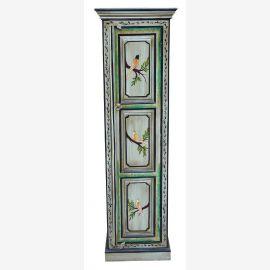 Inde ogival armoire pilier bleu clair peint lambrissé motifs d'oiseaux avant