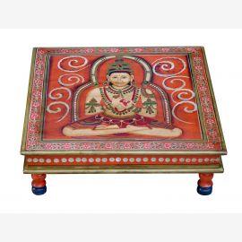 Inde table basse Bajot carré classique peint motif religieux