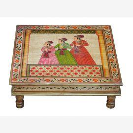 Indien Bajot flacher Tisch quadratisch klassische Palastszene Massivholz