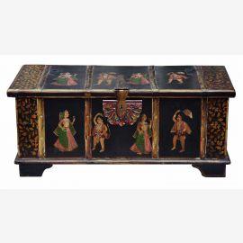 Inde boîte de poitrine antique excellente peinture de l'or noir