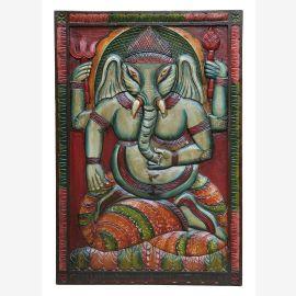 """Inde murale éléphant antique déesse Ganesha bois naturel du """"Luxury-Park"""""""