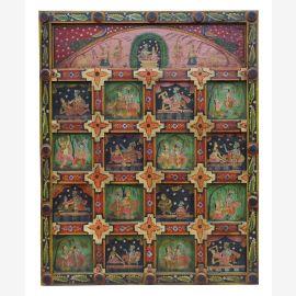 Inde grand panneau mural peint de nombreux motifs religieux