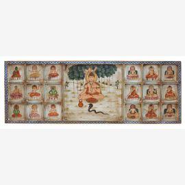 Particulièrement large Inde murale avec des motifs religieux traditionnels