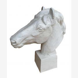 Klass Sische sculpture portrait de cheval sur le socle blanc antique fonte