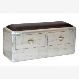 Nouveaux meubles tiroirs banc à deux places poli aluminium aéronautique