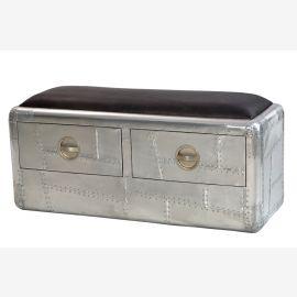 Nouveau mobilier poli d'aluminium des avions biplaces tiroirs banc