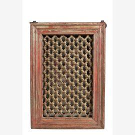 Indien Fensterrahmen mit Ziergitter dunkles Holz zum Einbau Rajasthan 1945