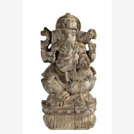 Indien Elefantengott Ganesha geschnitzte Holzfigur Skulptur Altarschmuck