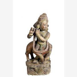 India Gottheit Krishna geschnitzte Holzfigur Skulptur Tempelschmuck auf Sockel