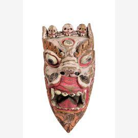 India 1945 Toten Maske geschnitzter Drachenkopf Holz Kunstwerk bemaltes Holz Bildhauer