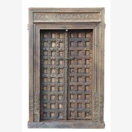 India repräsentative mächtige Kassetten Tür großer Holzrahmen Rajasthan vor 1910