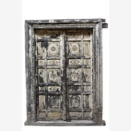 Indien weiß gekälkte Tür Tor mit Rahmen geschnitzt Rajasthan um 1900