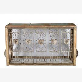Indien filigrane Konsole Sideboard Raumteiler Ablage feine Arbeit aus Holz und Metall