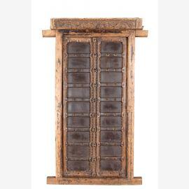 Indien traditionell beschnitztes Fenster Doppelflügel Rahmen Rajasthan 1930