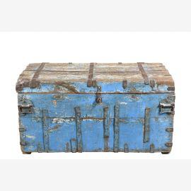 India alte Reise Truhe Box Kassette lichtblaue Bemalung heavy used optic Gujarat