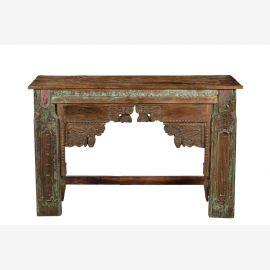 India breite Konsole Sideboard Tisch antike Schnitzerei und Bemalung Rajasthan