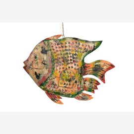 Indien große Skulptur Fisch verschiedene Dekore und phantastische Bemalung