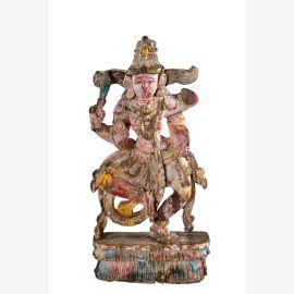 South India feine Skulptur  1930 Gottheit dunkles Holz Kunstwerk Einzelstück