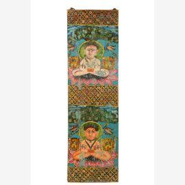 Indien mannshohes Wandbild farbenfrohe Buddha Motive Asia Deko