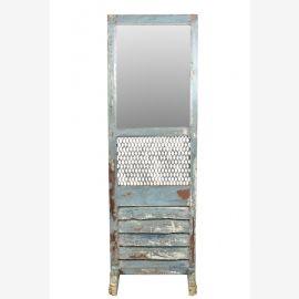 India mannshoher Spiegel Standspiegel altes Theatermöbel aus Holz und Metall heavy used finish
