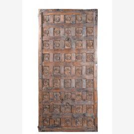 India Kassetten Decken Panell naturfarbenes Hartholz geschnitzt Provinz Rajasthan ca 1930