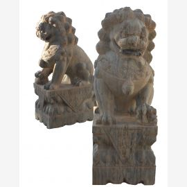 Fu Dog Paar Tempel Loewen Waechter beiger Marmor Antik- Look Bildhauerarbeit