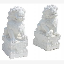 Fu Dog Paar Tempel Loewen Waechter Marmor Bildhauerarbeit