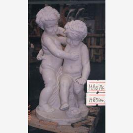 enfants Sculpture debout Putten paire de marbre blanc Parc