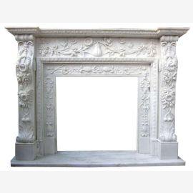 Cheminée en marbre, cheminée sur mesure en marbre massif K096