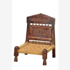 Bois sombre Inde 1900 siège de la chaise classique sculpté pieds tournés