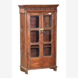 Inde 1910/2 grand verre mince vitrine armoire en bois naturel sculpture
