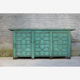 Robuste buffet en bois provenant d'une sculpture chinoise bleu-vert.