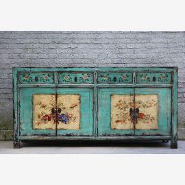 Buffet en bois naturel de Chine turquoise turquoise de conception élaborée.