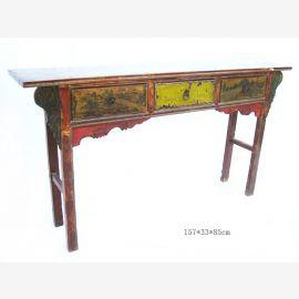 Table en bois massif de Chine dans un coloris traditionnel.