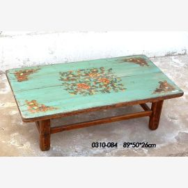 Table en bois naturel de Chine, peinture traditionnelle turquoise.