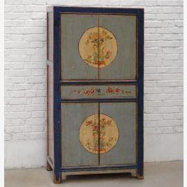 Armoire en bois massif Chine, bleu foncé, motif traditionnel bleu pâle, bleu pâle
