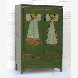 Chine cabinet en bois naturel en bois naturel herbe-vert peinture traditionnelle traditionnelle