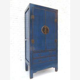Armoire chinoise robuste en bois, bleu foncé, applications métalliques