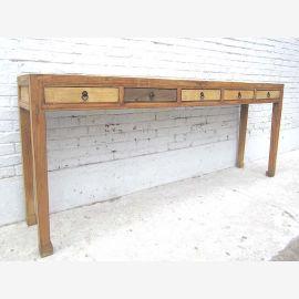 Table chinoise en bois massif avec tiroirs décalés