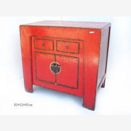 Meuble chinois en bois de première qualité avec des contrastes géométriques contrastés.