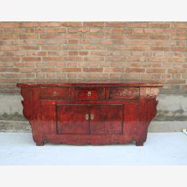 Buffet chinois en bois massif rouge expressif.