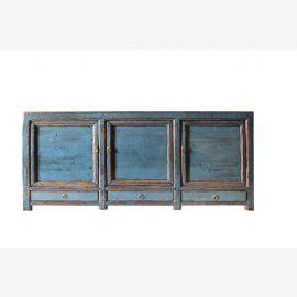 Buffet en bois massif de Chine de couleur bleu vif à l'aspect usagé.