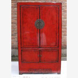 Meuble en bois de première classe de Chine en rouge vif avec des éléments en métal