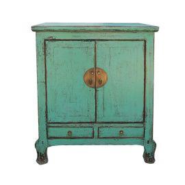 Meilleur meuble chinois en bois d'aspect usagé avec applications métalliques.