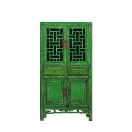 Armoire chinoise en bois massif avec inserts géométriques.