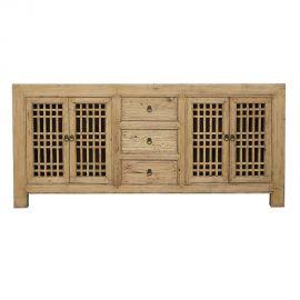 Buffet chinois en bois véritable avec tiroirs et inserts
