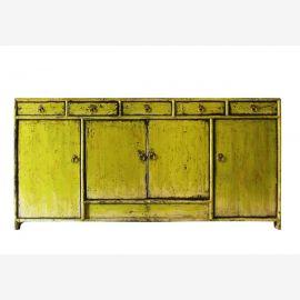 Buffet chinois en bois naturel de couleur jaune à la mode.