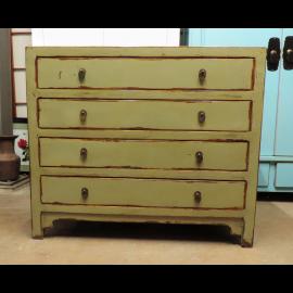 Armoire à tiroirs solide, gel b, bois véritable, aspect usagé.