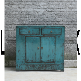 Meuble asiatique en bois impeccable en turquoise avec boucles métalliques.