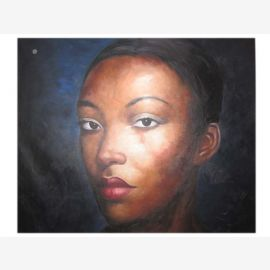 Grand portrait de femme africaine sur le pétrole de la taille originale sur la toile par des maîtres célèbres